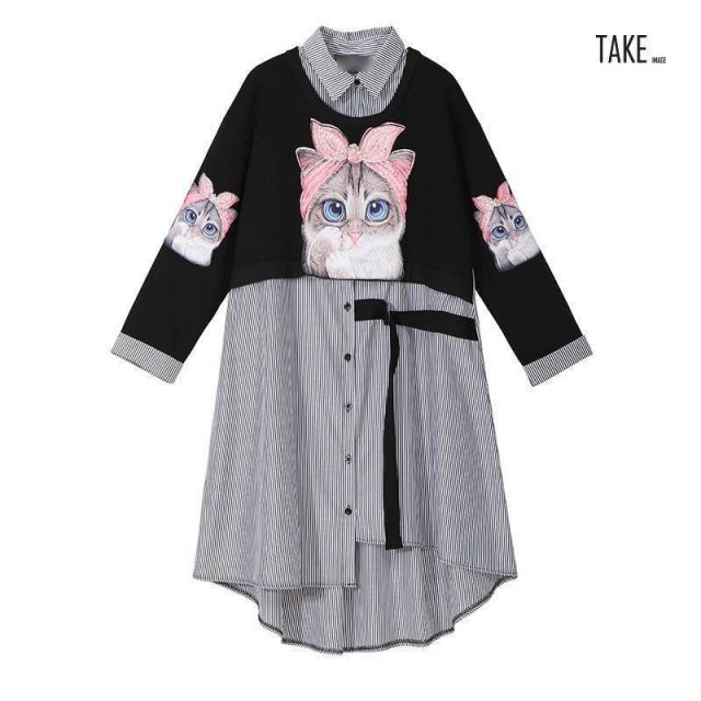 New Fashion Style Cat Print Kawaii Cartoon Shirt Dress Fashion Nova Clothing TAKE IMAGE