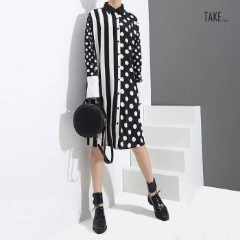 New Fashion Style Polka Dots Printed Stripes Dress Fashion Nova Clothing TAKE IMAGE