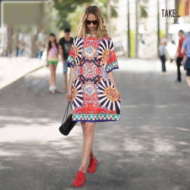 New Fashion Style Floral Printed Beach Dress Fashion Nova Clothing TAKE IMAGE