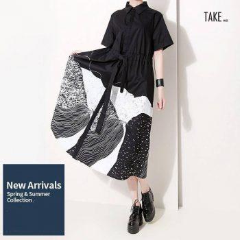 New Fashion Style Sash Lapel A-Line Casual Dresses Fashion Nova Clothing TAKE IMAGE