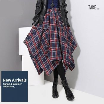 New Fashion Style Red Blue Plaid Split Checker Skirt Fashion Nova Clothing TAKE IMAGE