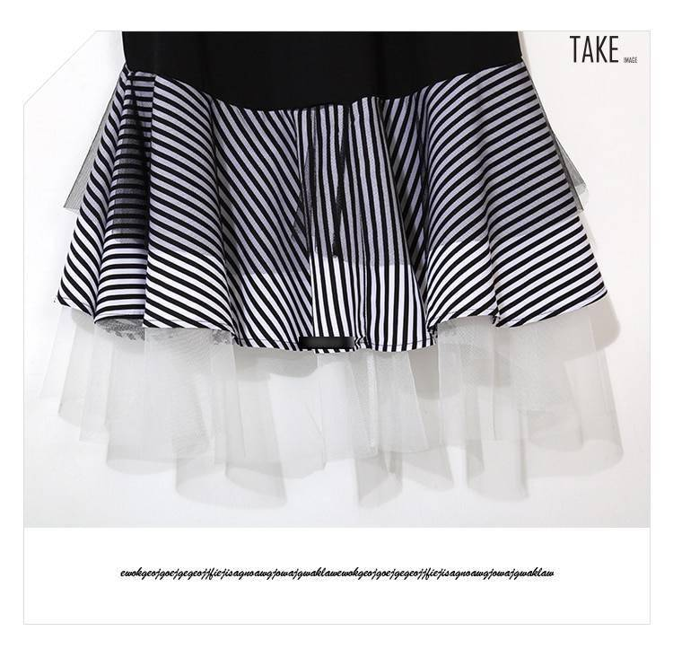New Fashion Style Trumpet Patchwork Ruffle Striped Hem Dress Fashion Nova Clothing
