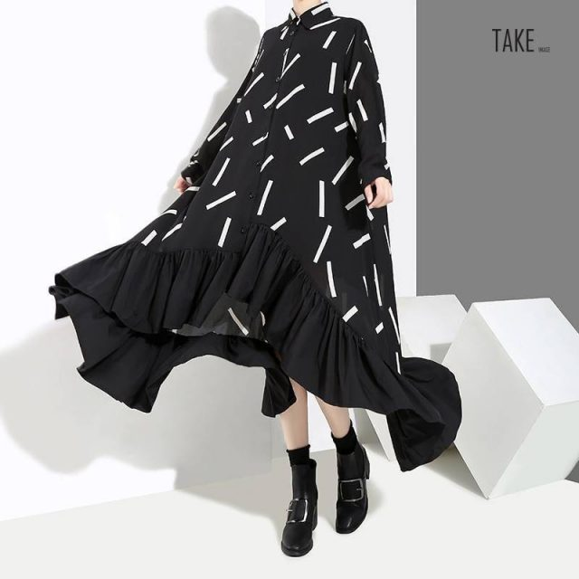 New Fashion Style Striped Print Ruffle Elegant Dress Fashion Nova Clothing TAKE IMAGE