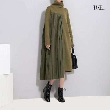 New Fashion Style Green Pleated Sweater Patchwork Dress Fashion Nova Clothing TAKE IMAGE