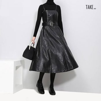 New Fashion Style Faux Leather Black Midi Sexy PU Dress Fashion Nova Clothing TAKE IMAGE