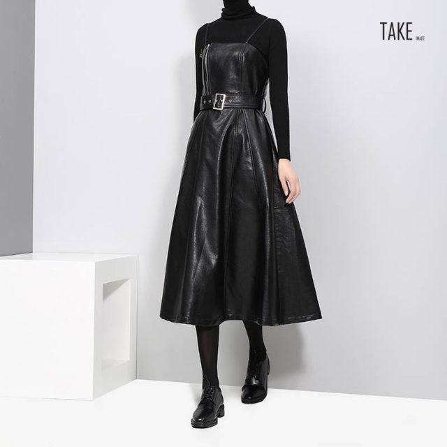New Fashion Style Faux Leather Black Midi Sexy PU Dress Fashion Nova Clothing TAKE IMAGE