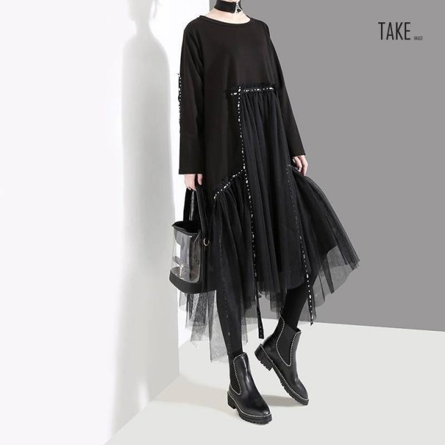 New Fashion Style Mesh Overlay Casual Dress Fashion Nova Clothing TAKE IMAGE