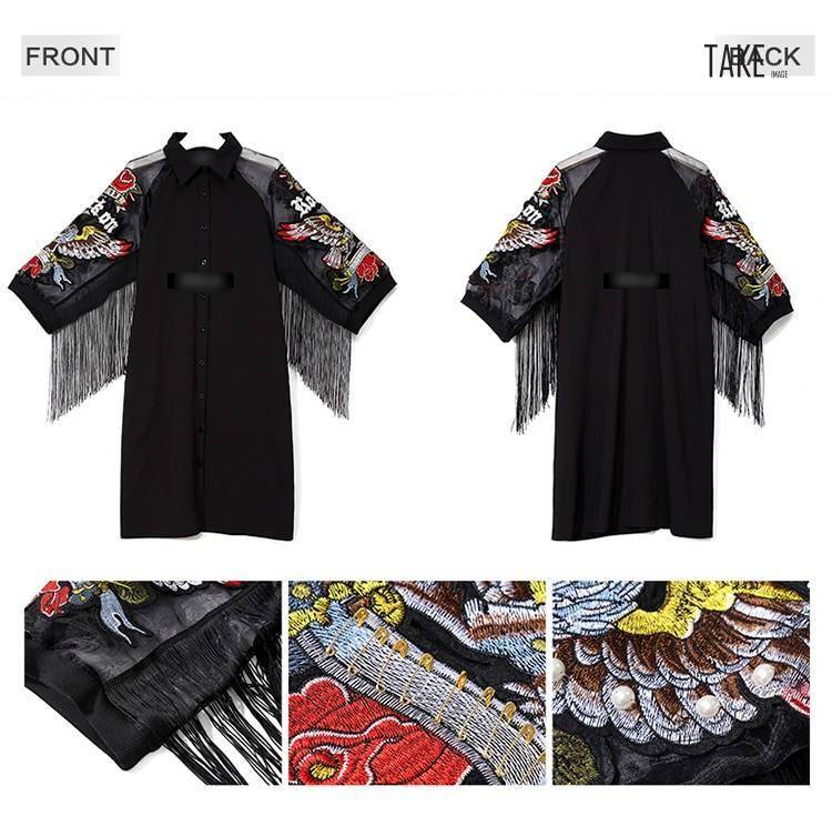 New Fashion Style Wings Embroidery Fringes Dress Fashion Nova Clothing