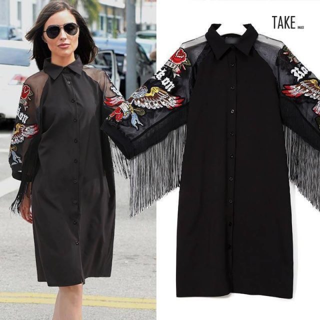 New Fashion Style Wings Embroidery Fringes Dress Fashion Nova Clothing TAKE IMAGE