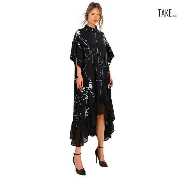 New Fashion Style Retro Ruffle Irregular Stripes Print Dress Fashion Nova Clothing TAKE IMAGE