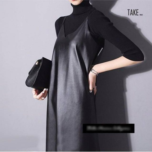 New Fashion Style PU Leather Spaghetti Straps Sleeveless Dress Fashion Nova Clothing TAKE IMAGE