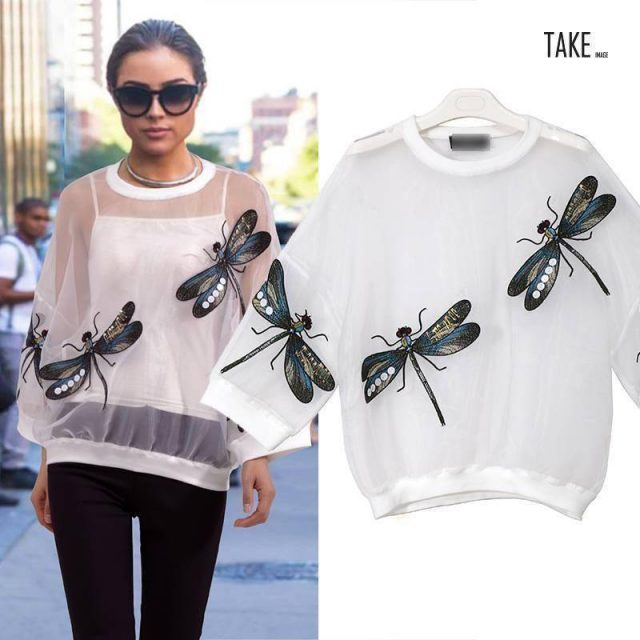 New Fashion Style Mesh Top With Dragonflies Dress Fashion Nova Clothing TAKE IMAGE