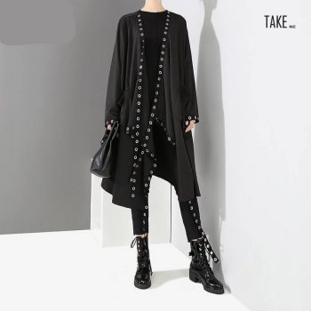 New Fashion Style Long Tape Stitched Metal Holes Jacket Fashion Nova Clothing TAKE IMAGE