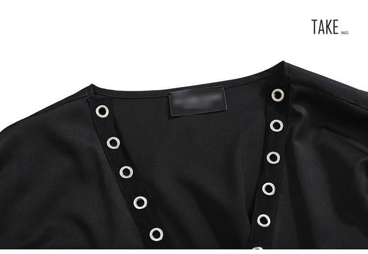 New Fashion Style Long Tape Stitched Metal Holes Jacket Fashion Nova Clothing