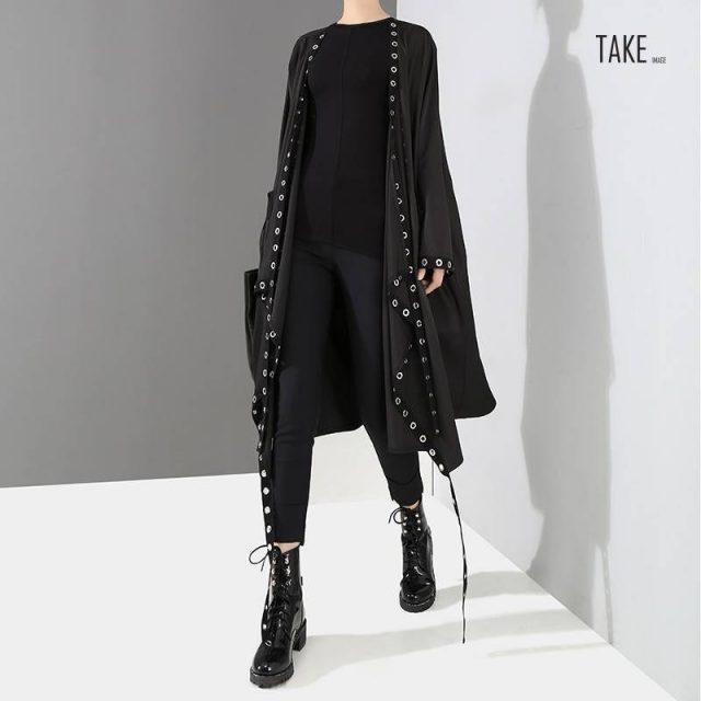 New Fashion Style Long Tape Stitched Metal Holes Jacket Fashion Nova Clothing TAKE IMAGE