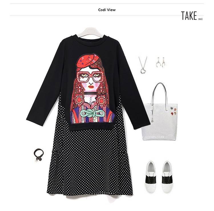 New Fashion Style Cartoon Polka Dot Print Dress Fashion Nova Clothing