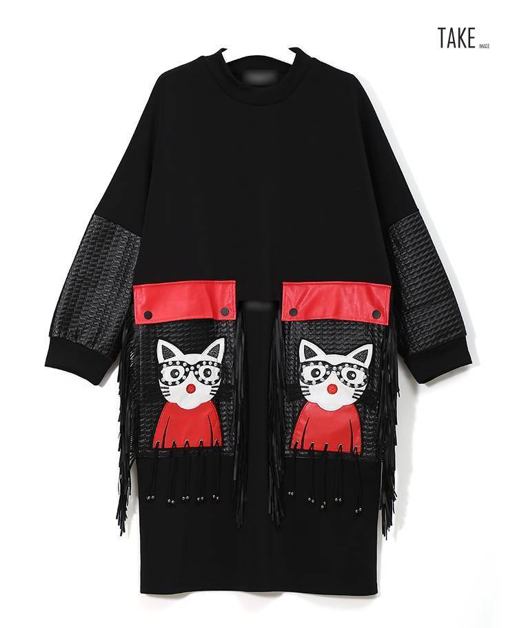 New Fashion Style Cartoon PU Large Pocket Fringe Dress Fashion Nova Clothing