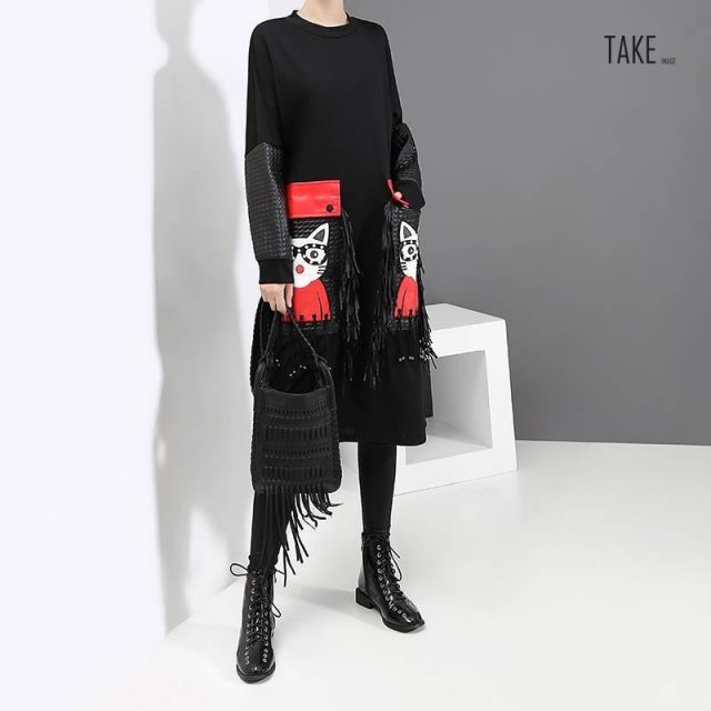 New Fashion Style Cartoon PU Large Pocket Fringe Dress Fashion Nova Clothing TAKE IMAGE