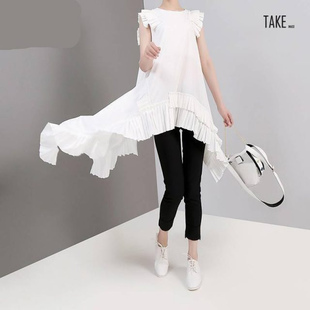 New Fashion Style Irregular Sleeveless Ruffles Hem Blouse Fashion Nova Clothing TAKE IMAGE