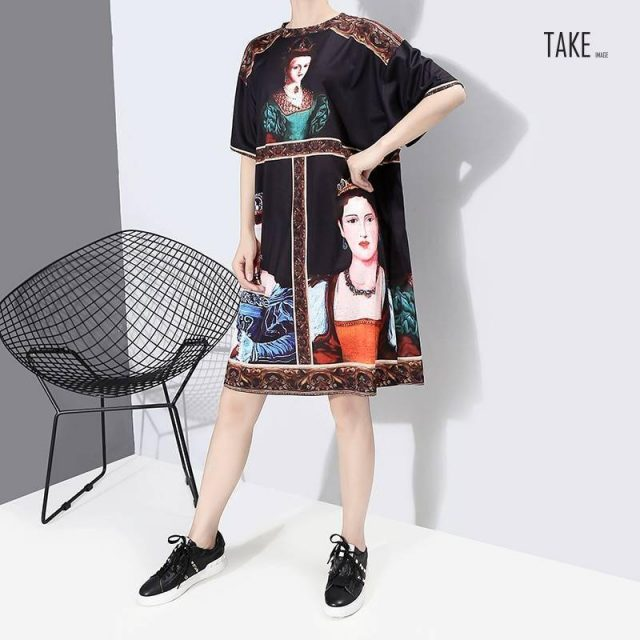New Fashion Style Printed O Neck Plus Size Cute Casual Dress Fashion Nova Clothing TAKE IMAGE