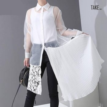 New Fashion Style See-Through Lace Pleated Part Joined Dress Fashion Nova Clothing TAKE IMAGE