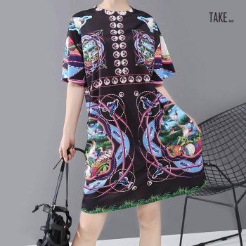 New Fashion Style Multicolor Printed Boho Straight Dress Fashion Nova Clothing TAKE IMAGE