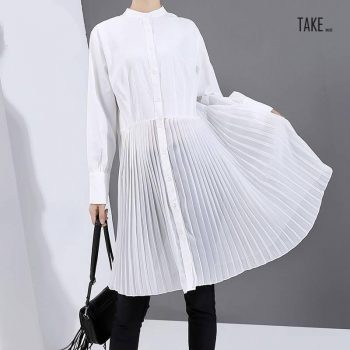New Fashion Style White Pleated Buttons Shirt Dress Fashion Nova Clothing TAKE IMAGE