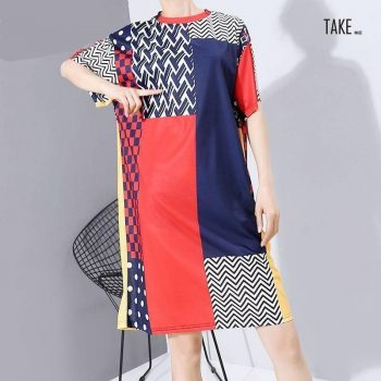New Fashion Style Short Sleeve Midi Dress Multi Color Geometric Pattern Printed Fashion Nova Clothing TAKE IMAGE