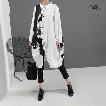 New Fashion Style Painting Plus Size Print Shirt Dress Fashion Nova Clothing TAKE IMAGE
