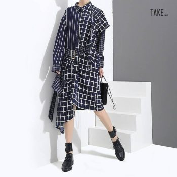 New Fashion Style Blue Asymmetrical Plaid Shirt Dress Fashion Nova Clothing TAKE IMAGE