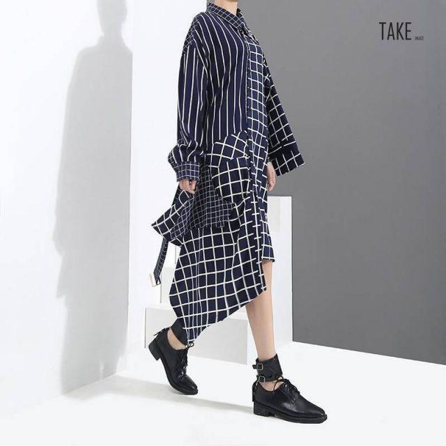 New Fashion Style Blue Asymmetrical Plaid Shirt Dress Fashion Nova Clothing TAKE IMAGE