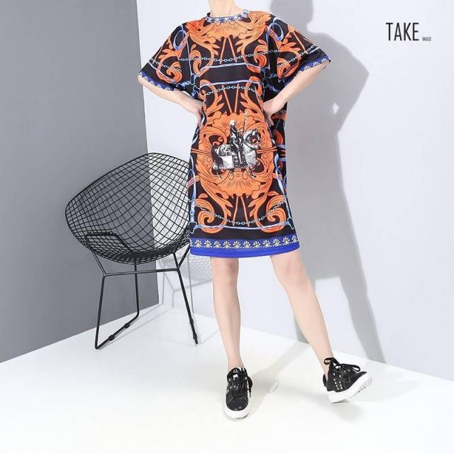 New Fashion Style Summer Multi Color Printed Dress Fashion Nova Clothing TAKE IMAGE