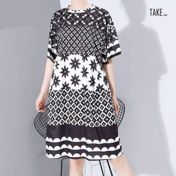 New Fashion Style Multi Color Printed Geometrical Patterns Dress Fashion Nova Clothing TAKE IMAGE