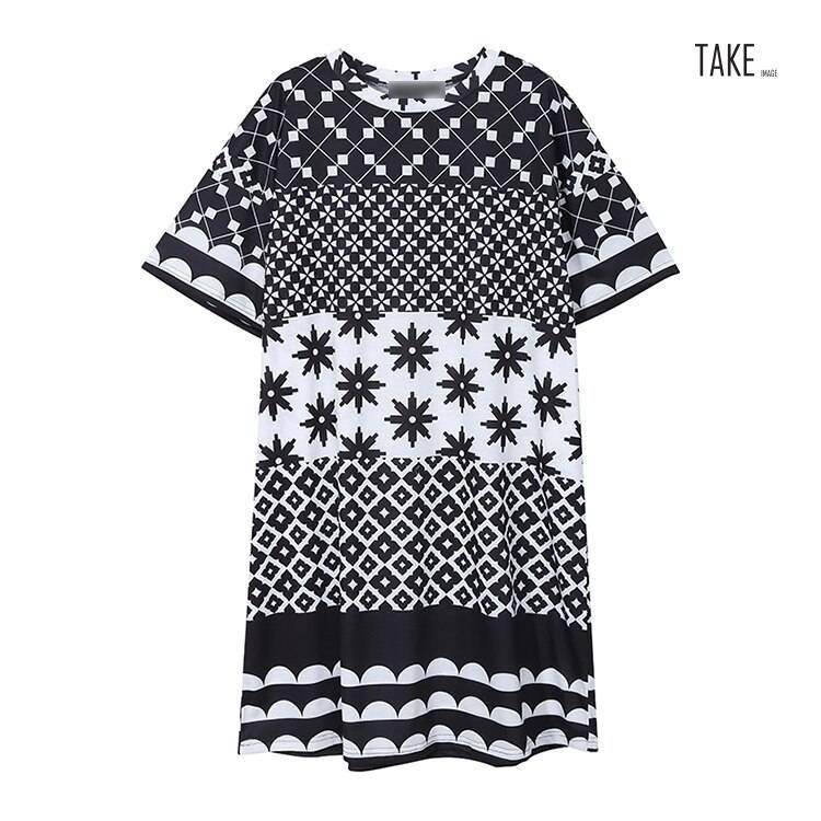 New Fashion Style Multi Color Printed Geometrical Patterns Dress Fashion Nova Clothing
