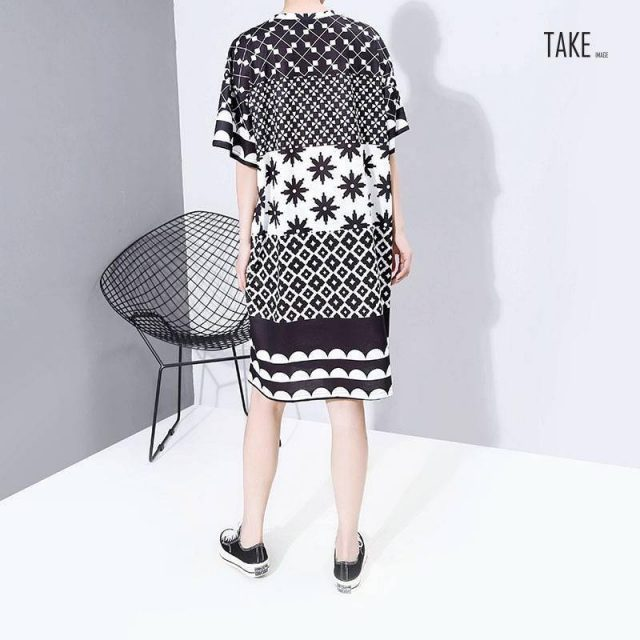 New Fashion Style Multi Color Printed Geometrical Patterns Dress Fashion Nova Clothing TAKE IMAGE