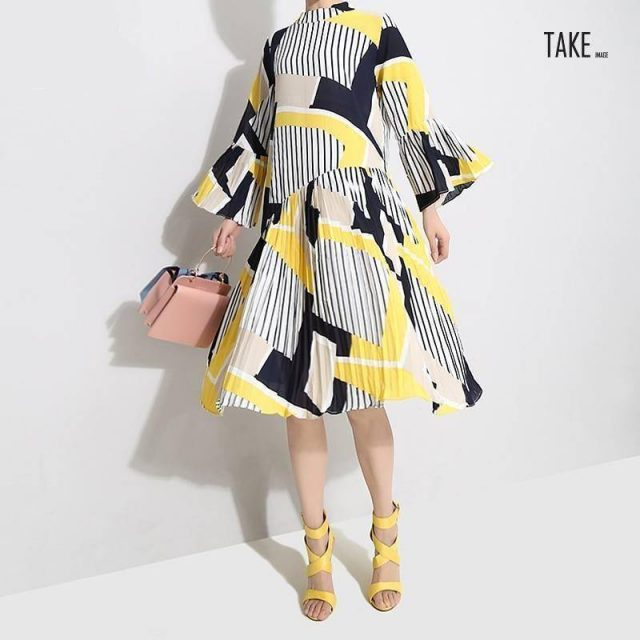 New Fashion Style Yellow Striped Printed Dress Fashion Nova Clothing TAKE IMAGE