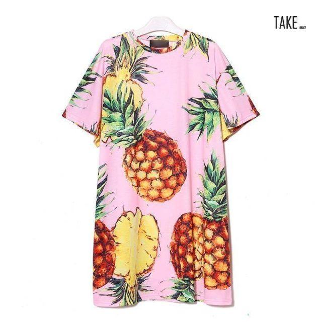 New Fashion Style Pineapple Printing Casual Beach Dress Fashion Nova Clothing TAKE IMAGE
