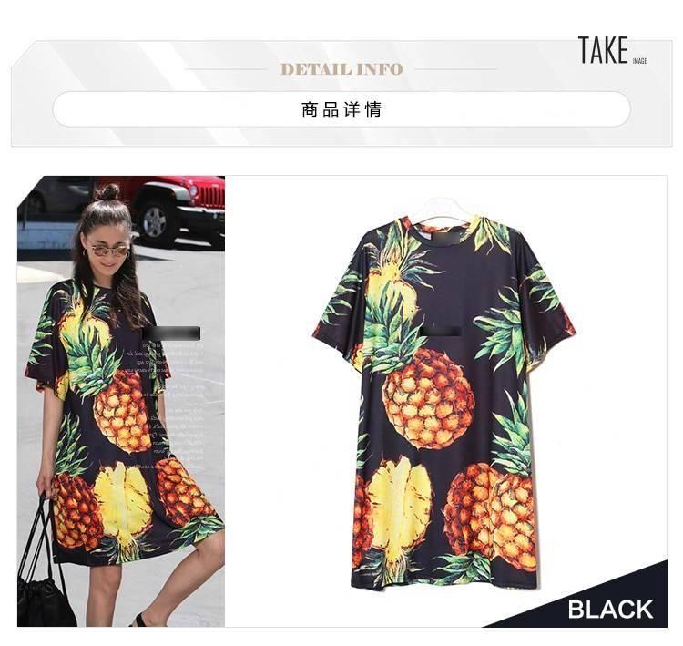 New Fashion Style Pineapple Printing Casual Beach Dress Fashion Nova Clothing
