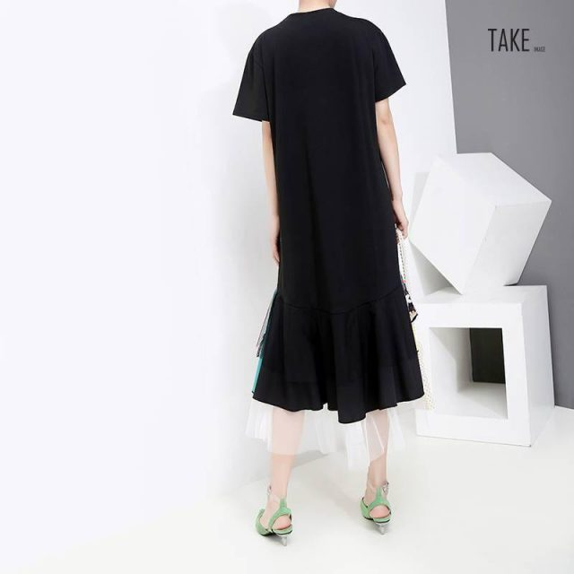 New Fashion style Black A-Line Colorful Hem Knee Length Dress Fashion Nova Clothing TAKE IMAGE