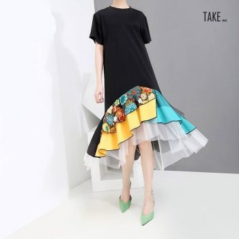 New Fashion style Black A-Line Colorful Hem Knee Length Dress Fashion Nova Clothing TAKE IMAGE