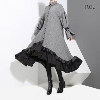 New Fashion Style Plus Size Gray Patchwork Warm Wear Ruffled Elegant Shirt Dress Fashion Nova Clothing TAKE IMAGE