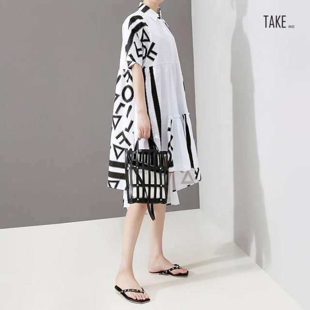 New Fashion Style Geometric Printed Plus Size Casual Dress Fashion Nova Clothing TAKE IMAGE
