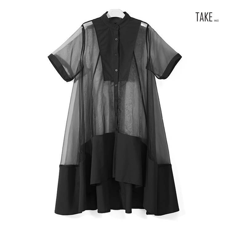 New Fashion Style Two Pieces Set Green Midi Transparent Mesh Dress Fashion Nova Clothing