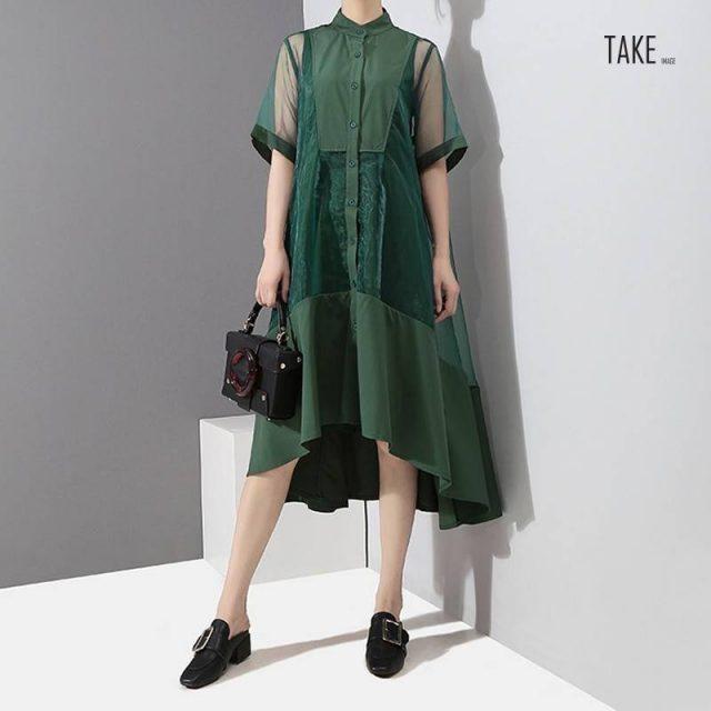 New Fashion Style Two Pieces Set Green Midi Transparent Mesh Dress Fashion Nova Clothing TAKE IMAGE