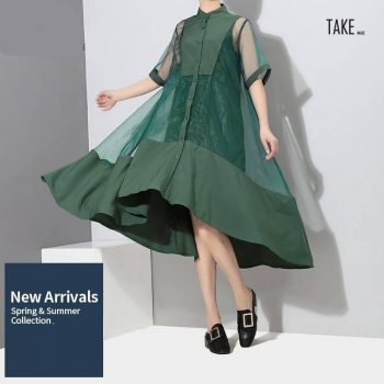 New Fashion Style Two Pieces Set Green Midi Transparent Mesh Dress Fashion Nova Clothing TAKE IMAGE