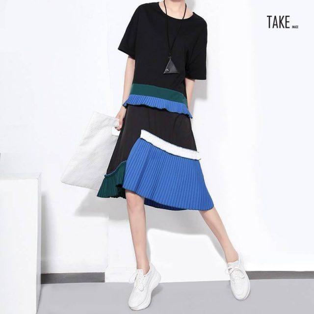 New Fashion Style Blue Patchwork Sun Dress Fashion Nova Clothing TAKE IMAGE