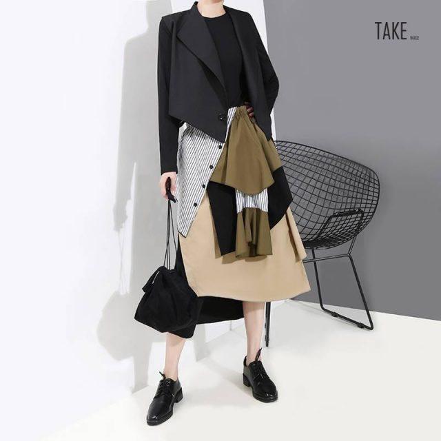 New Fashion Style Vintage Patchwork Elastic Waist Skirt Fashion Nova Clothing TAKE IMAGE