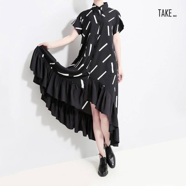 New Fashion Style Black Striped Ruffles Female Runway Shirt Dress Fashion Nova Clothing TAKE IMAGE