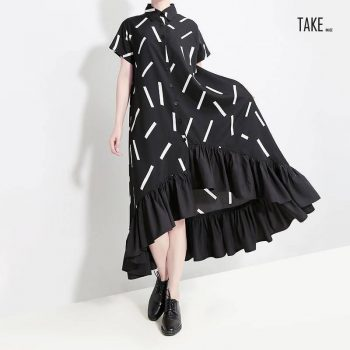 New Fashion Style Black Striped Ruffles Female Runway Shirt Dress Fashion Nova Clothing TAKE IMAGE