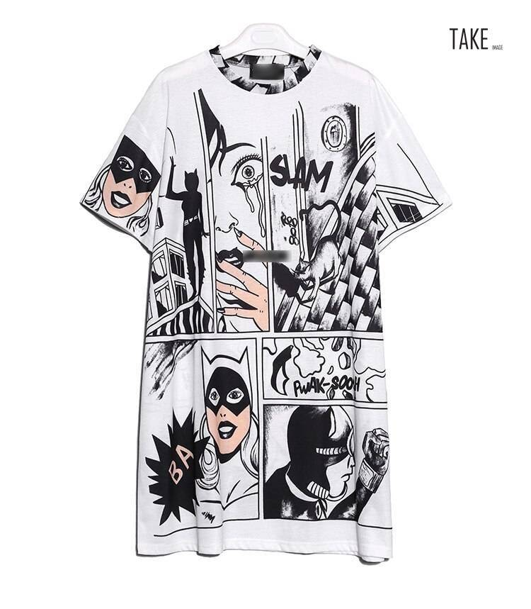 New Fashion Style Cartoon Print Casual Beach Dress Fashion Nova Clothing